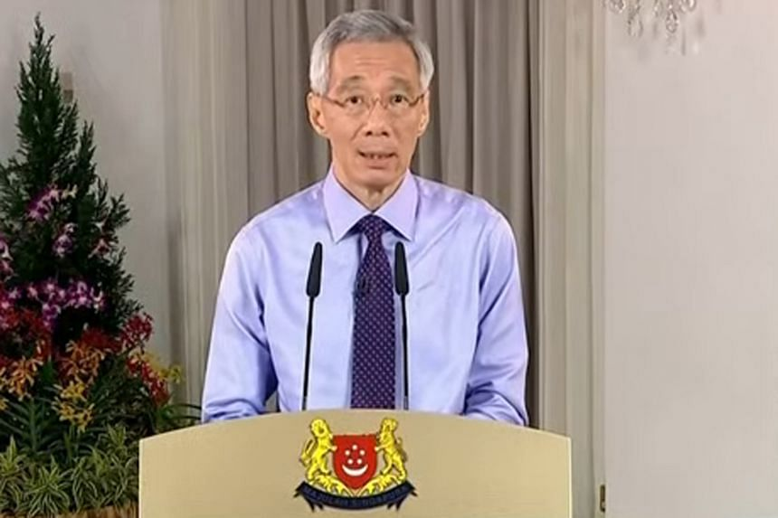 Prime Minister Lee Hsien Loong speaking in a televised national address on Dec 14, 2020.