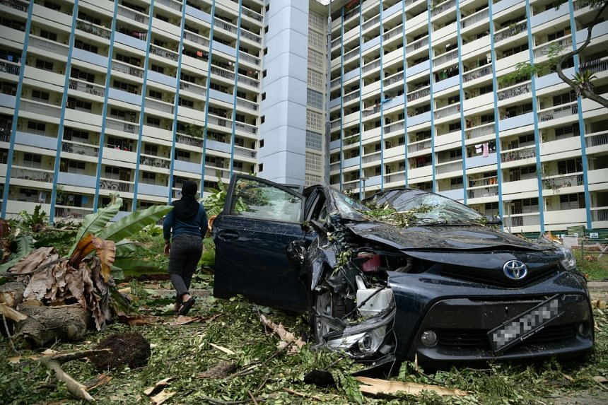 Madam Enon was retrieving items from her family car, which was crushed by a fallen tree at Blk 68 Toa Payoh Lorong 4, on Dec 13, 2020.