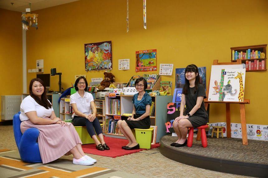 (From left) Allied Educator Li Jiayi, early childhood educator Elaine Chong, special school educator Tan Pek Keow, and early childhood educator Koh Jia Min.