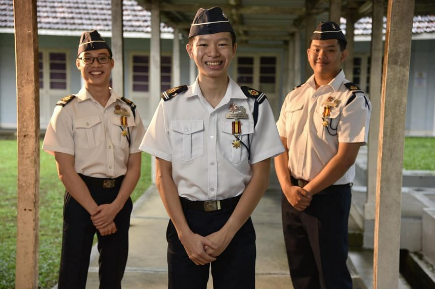 (From left) Senior Cadet Lieutenant Evan Lim Shouwang, Kennard Tay Sze Han and Brendan Soh Heng Yi.