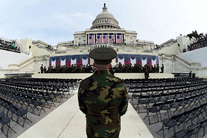 A 2017 photo shows the US Marine Corps Band practicing in Washington ahead of Donald Trump's inauguration.
