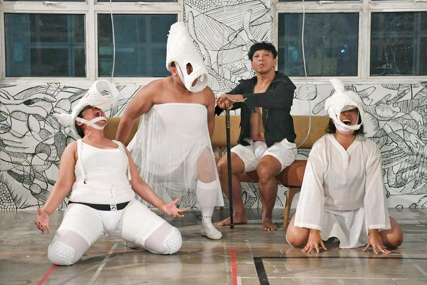 Teater Ekamatra's play A Clockwork Orange starring Rizman Putra (in black jacket) as Al.