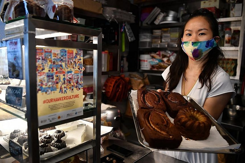 Ms Amber Pong, a former marketing executive, now sells cakes at Ghim Moh food centre. She said she had always wanted to be a hawker, and left her job to go to Australia to work as a pastry chef in Melbourne to gain experience before finally setting u