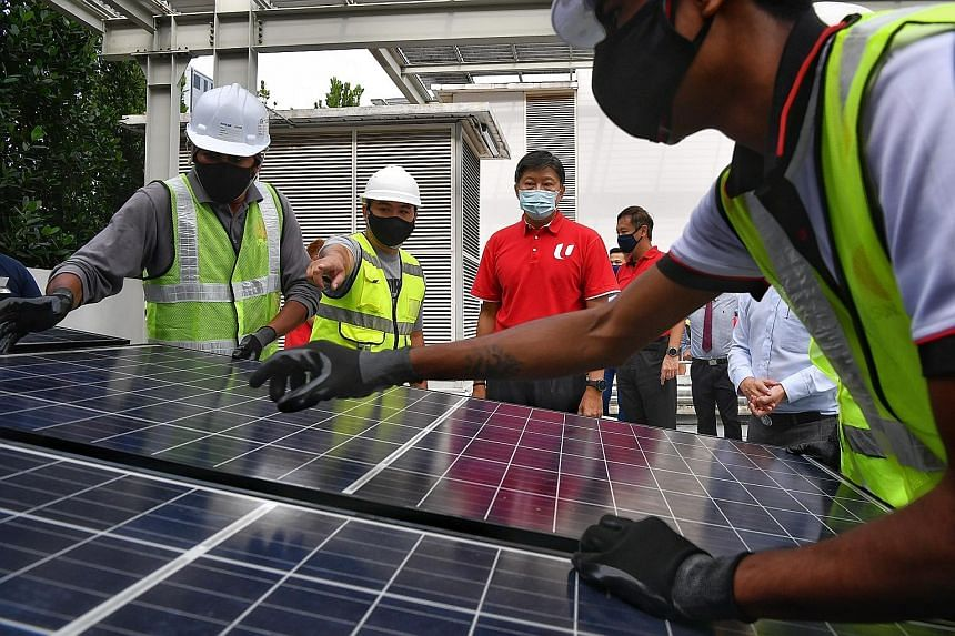 NTUC secretary-general Ng Chee Meng observing workers install a solar panel at the Singapore Sustainability Academy yesterday. The Employment and Employability Institute and Sustainable Energy Association of Singapore signed deals with nine solar fir