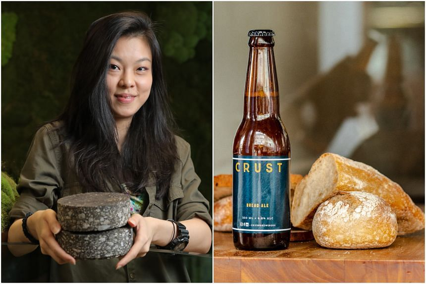 Magorium founder Oh Chu Xian with the start-up's road construction material prototypes and a beverage by Crust Group, which transforms food waste into drinks.