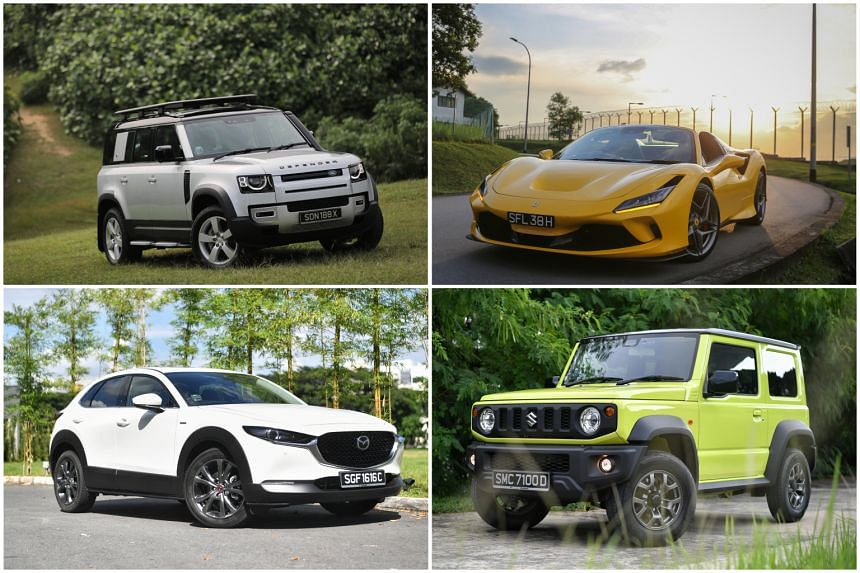 (Clockwise from top left) Land Rover Defender, Ferrari F8 Spider, Suzuki Jimny and Mazda CX-30.