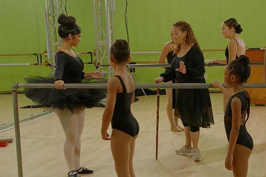 Rapper Cardi B (far left, in tutu) opposite dancer and Grey's Anatomy star Debbie Allen in the series, Cardi Tries.