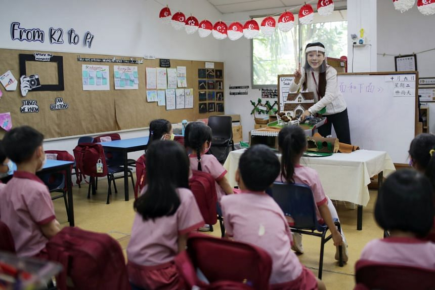Kindergarten 2 children attending a Chinese lesson at St James' Church Kindergarten at its Harding campus in October. Kindergarten 2 and Primary 2 to Primary 6 children will enjoy an extra day of school holidays and return to school on Jan 5. Secon
