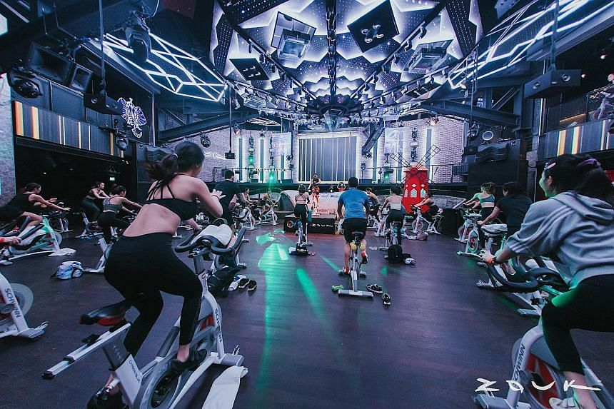 Zouk partnered Absolute Cycle studio to conduct spin classes on the nightspot's main dance floor, complete with lighting and heart-pumping music.