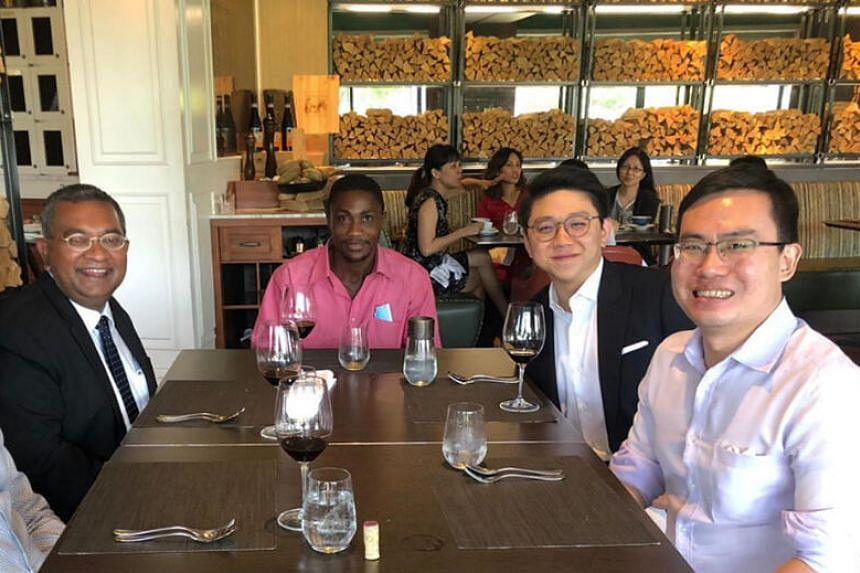 (From left) Eugene Thuraisingam, Ilechukwu Uchechukwu Chukwudi, Johannes Hadi, and Suang Wijaya having lunch in October 2020.