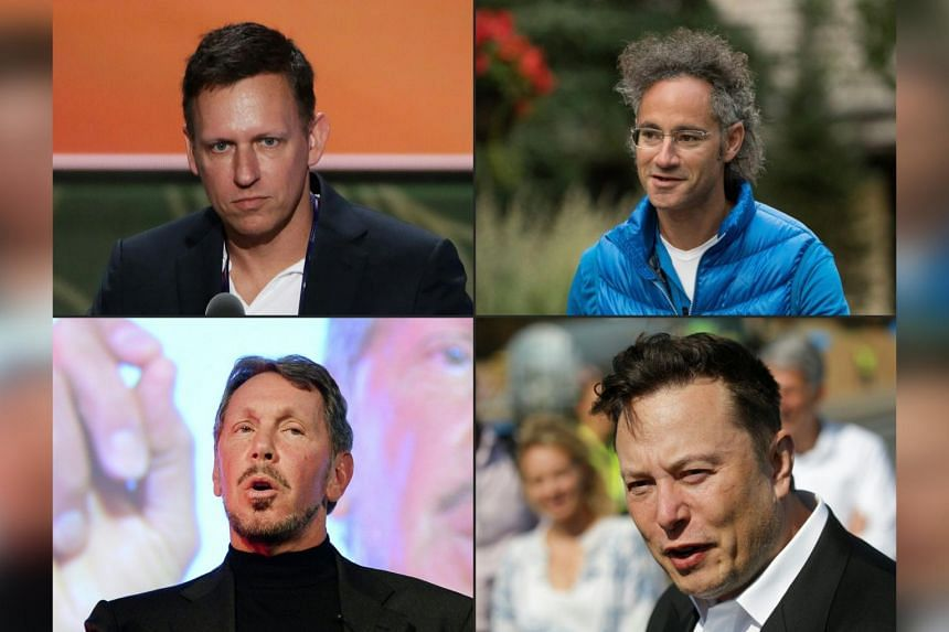 (Clockwise from top left) Co-founder of Paypal Peter Thiel, CEO of Palantir Technologies Alex Karp, Tesla CEO Elon Musk and CEO of Oracle Corporation Larry Ellison.
