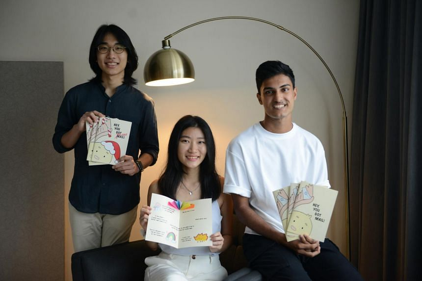 (From left) Mr Park Jiwon, Ms Tan Wei Lin and Mr Advait Bharat Deshpande are part of the six friends who started Hey, You Got Mail!.