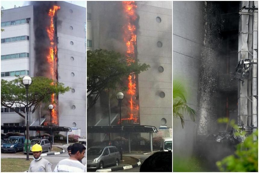 It took firefighters nearly five hours to douse the flames at the ground floor of Block E3A.