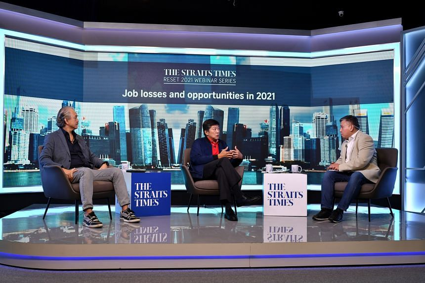 (From left) Singapore National Employers Federation Robert Yap, labour chief Ng Chee Meng and assistant news editor Toh Yong Chuan at SPH News Centre on Dec 21, 2020.
