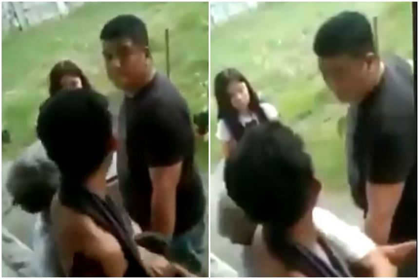 The video showed Mrs Sonya Gregorio with her arms wrapped tightly around her son Frank Anthony Gregorio as they were being confronted by Sergeant Jonel Nuezca.