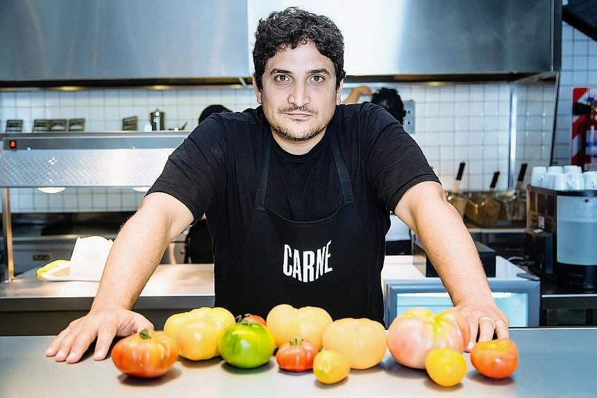 Argentinian chef Mauro Colagreco (above) launched Carne in 2016. The chain's hamburgers are said to feature premium and sustainable ingredients such as grass-fed, hormone-and antibiotics-free beef.