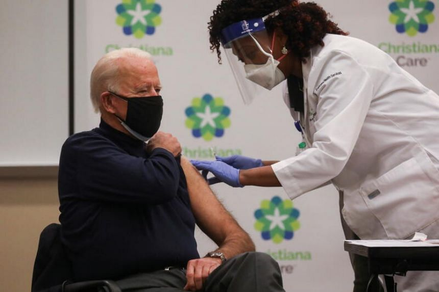 Joe Biden received the injection from Tabe Masa, Nurse and Head of Employee Health Services at Christiana Hospital.