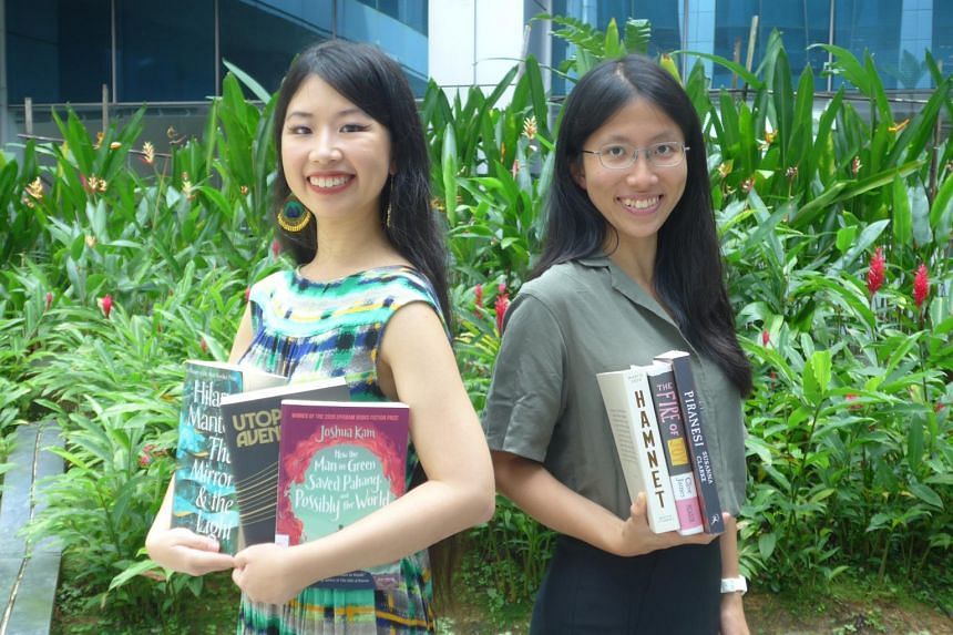 Hosts of ST's Bookmark This! Podcast - Olivia Ho (left) and Toh Wen Li (right) - with their favourite books in 2020, from the likes of authors such as Hilary Mantel, David Mitchell, Joshua Kam; Susanna Clarke, Clive James; and Maggie O'Farrell.