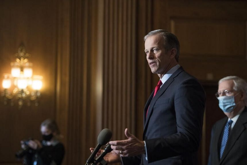 Senator John Thune (above) said he knows of no senators who have committed to join an effort by several House Republicans to challenge Mr Biden's election.
