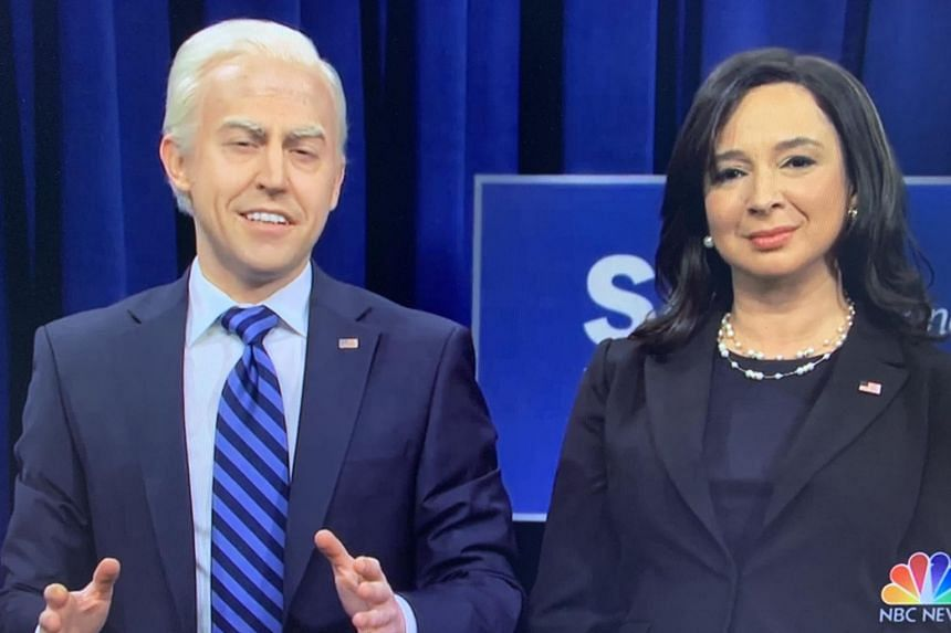 Actor Alex Moffat plays US President-elect Joe Biden, while actress Maya Rudolph plays US Vice-President-elect Kamala Harris in Saturday Night Live's final episode of 2020.