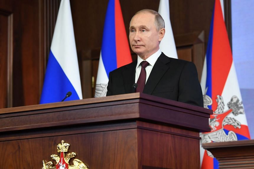 Putin speaks at a defence meeting in Moscow, Dec 21, 2020.