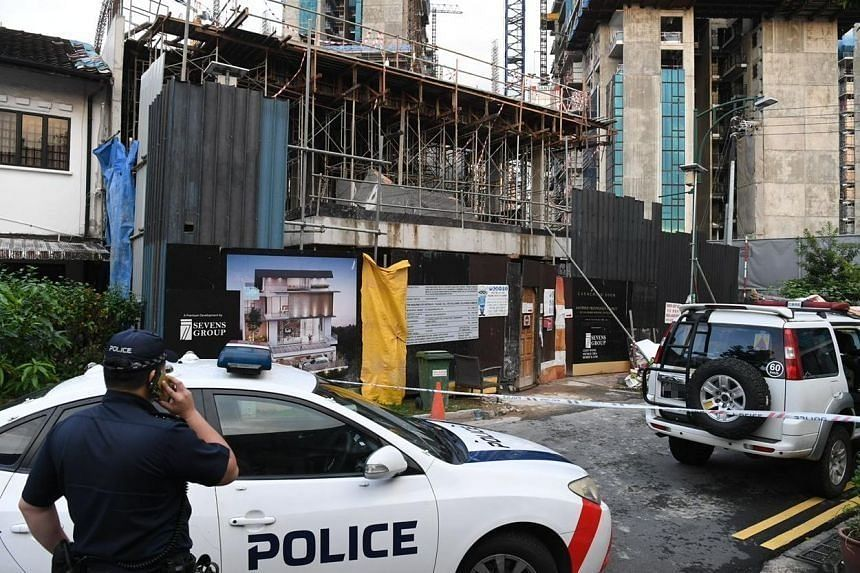 The corner terrace unit at 43 Jalan Rabu, which is currently under construction, was cordoned off, along with the other 12 terrace and semi-detached houses.