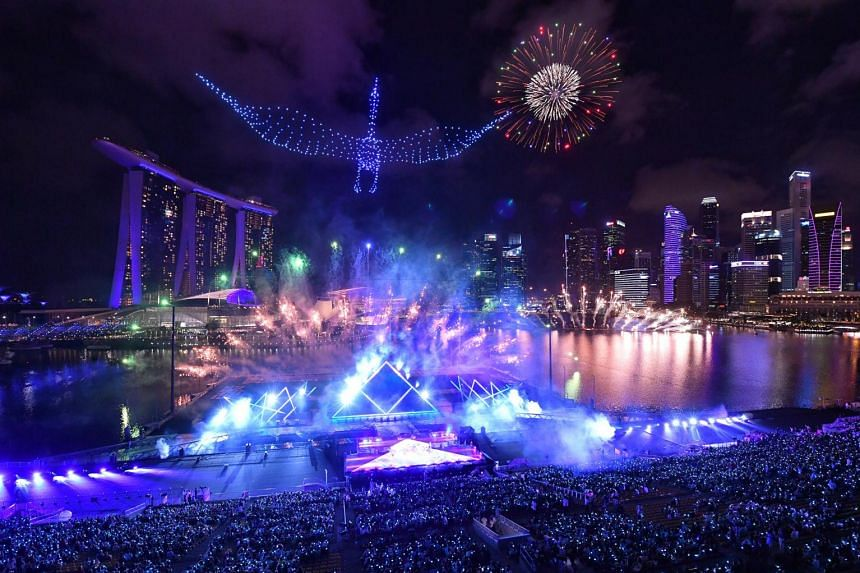 The fireworks display at the Marina Bay on Jan 1, 2020.