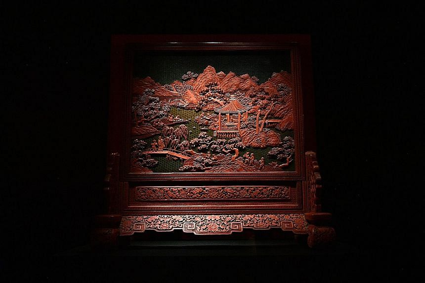 TABLE SCREEN: GATHERING OF SCHOLARS, CHINA.
