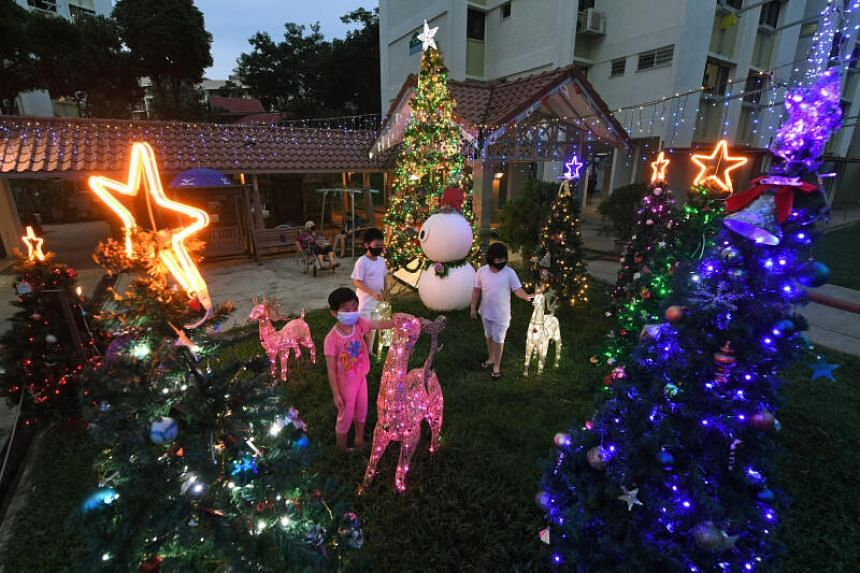 Christmas decorations at Blocks 702 and 703 in Bedok Reservoir Road on Dec 21 2020.