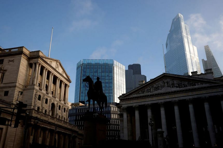 A general view shows the Bank of England and the City of London financial district in November 2020.