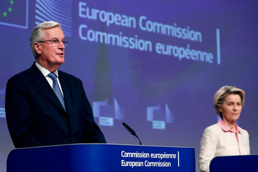 EU chief Brexit negotiator Michel Barnier (left) and European Commission president Ursula von der Leyen attend a media conference on Brexit negotiations in Brussels, on Dec 24, 2020.
