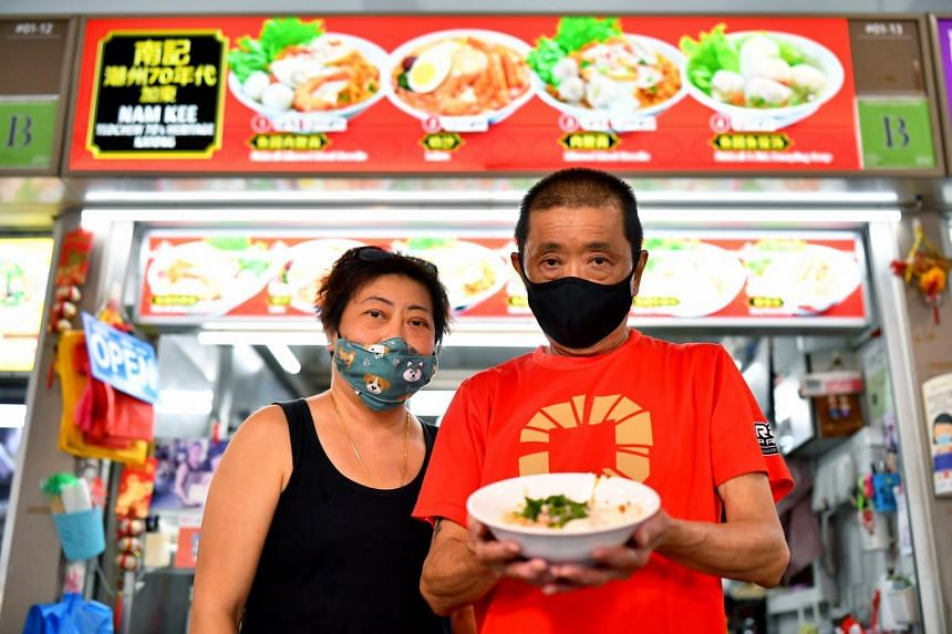 Hawker Goh Peng Huat and his wife, Ms Chia Gek Kee, of Nam Kee Teochew 70's Heritage Katong said they would be keen to join the hawker succession scheme.