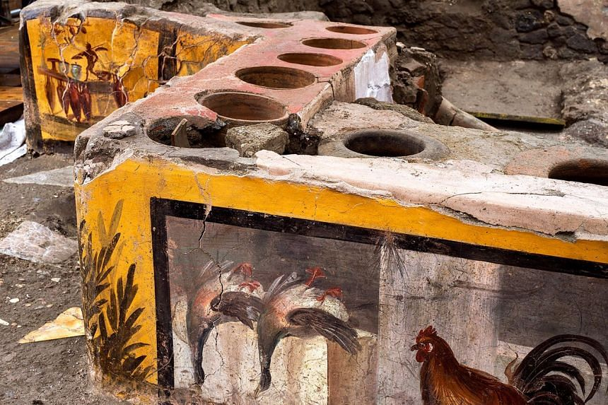The termopolium (pictured) is decorated with polychrome motifs and in an exceptional state of preservation.