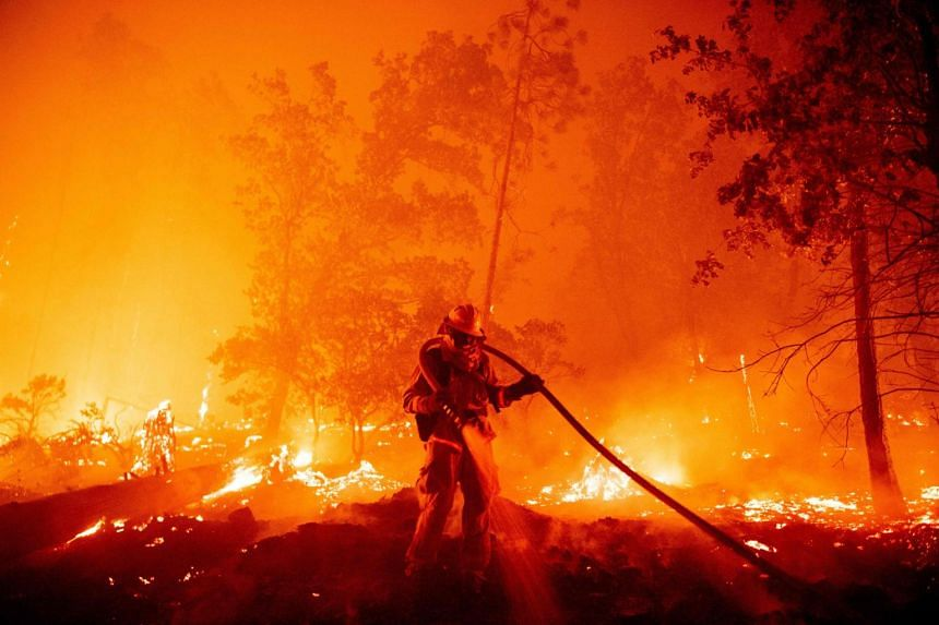 A firefighter douses flames as they push towards homes during the Creek fire in the Cascadel Woods area of Madera County, California, on Sep 7, 2020.