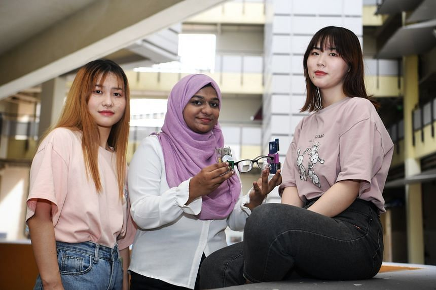 The smart glasses were designed by Singapore Polytechnic students (from left) Chen Zihan, Nashita Fatima and Fang Qian.