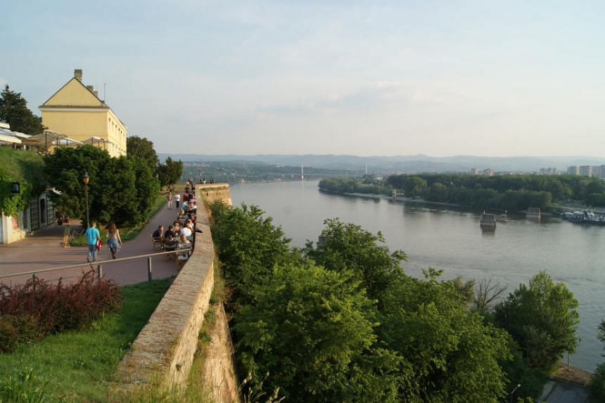 A view of the Danube river from the turrets and walls of Petrovaradin fortress in Novi Sad, Serbia.