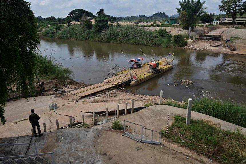 A river crossing between Thailand and Myanmar in the border town of Mae Sot in Tak province.