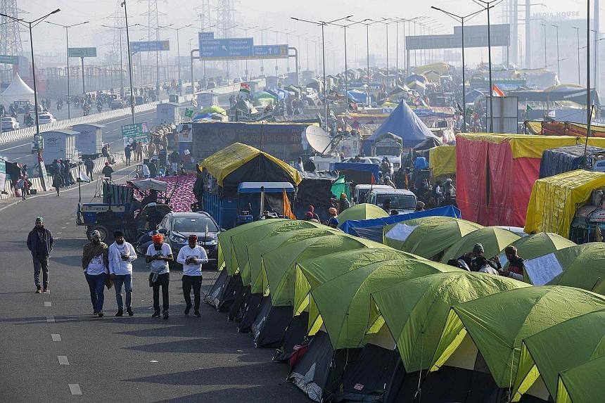 Tents pitched on a blocked highway in Ghaziabad on the Delhi-Uttar Pradesh state border in India, during an ongoing protest against the central government's recent agricultural reforms. Tens of thousands of farmers continue to camp out on highways ne