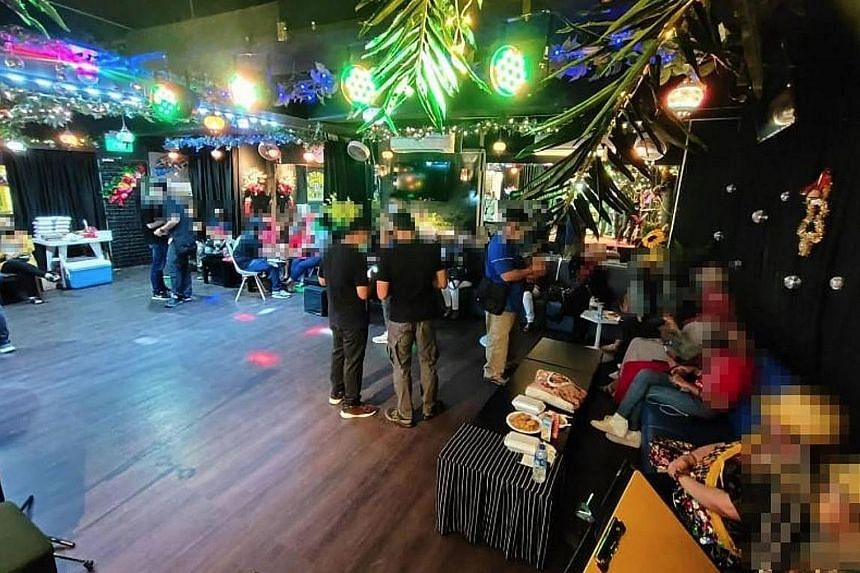 The authorities found an unlicensed public entertainment outlet in a factory unit, where 36 patrons were having a function.