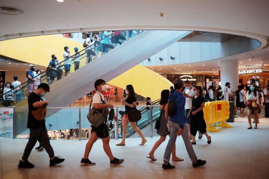 Shoppers at Vivocity mall on Dec 28, 2020.