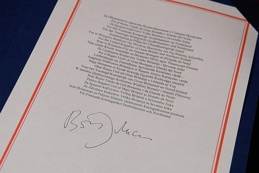 One of the documents signed by British Prime Minister Boris Johnson on the Brexit trade deal with the European Union
