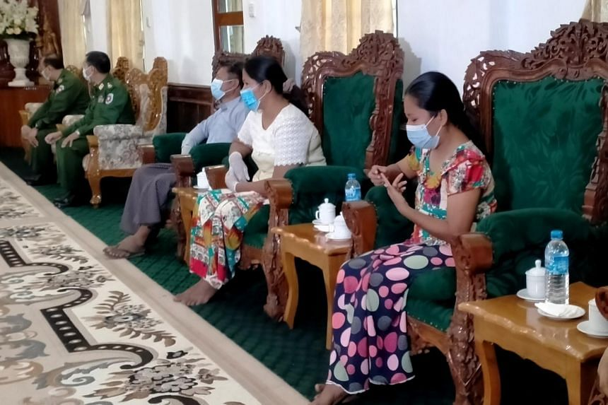 National League for Democracy members (from right) Chit Chit Chaw, Nin Ni May Myint and Min Aung in Sittwe, after they were released by the Arakan Army, on Jan 1, 2021.