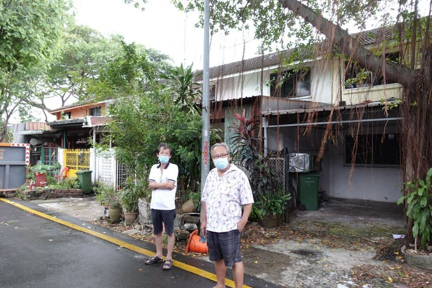 Residents in front of their units at Geylang Lorong 3 on Dec 31, 2020.