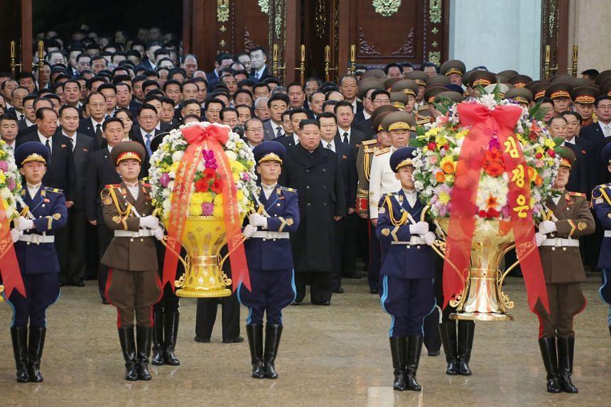 North Korean leader Kim Jong Un visiting the Kumsusan Palace of the Sun on Jan 1, 2021.