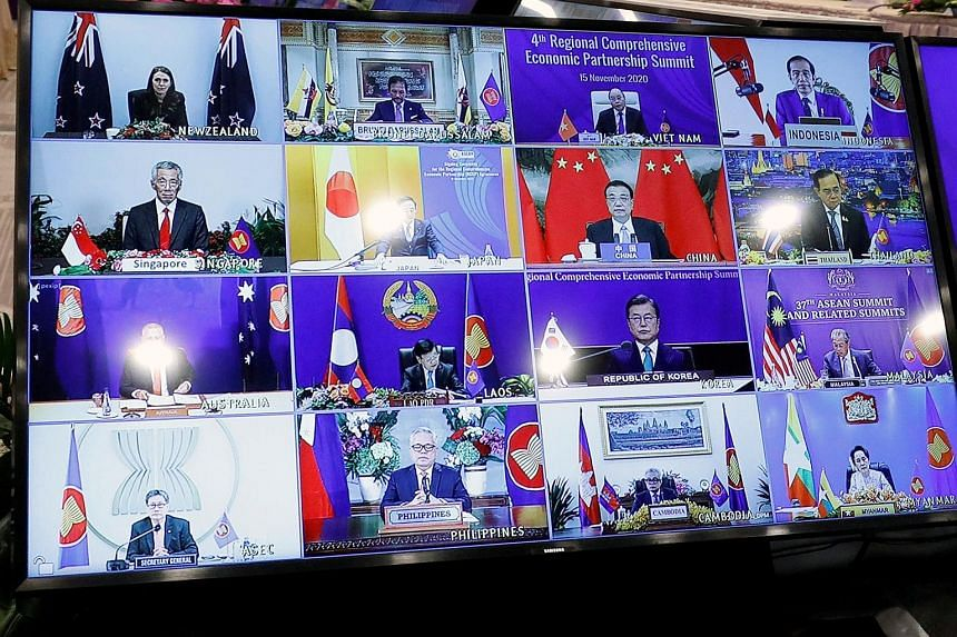 Leaders meeting via video link at the 4th Regional Comprehensive Economic Partnership (RCEP) Summit last November. The RCEP is a defining moment for a China-led Asian order, says the writer.