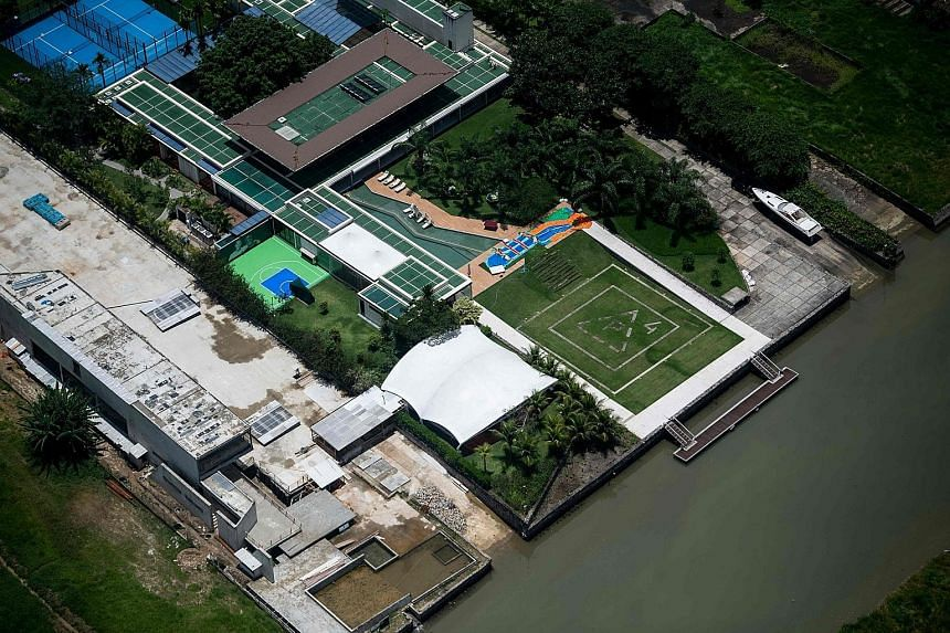 Aerial view of the luxury beachside mansion of Neymar near Rio de Janeiro. The Brazilian has drawn criticism for his party.