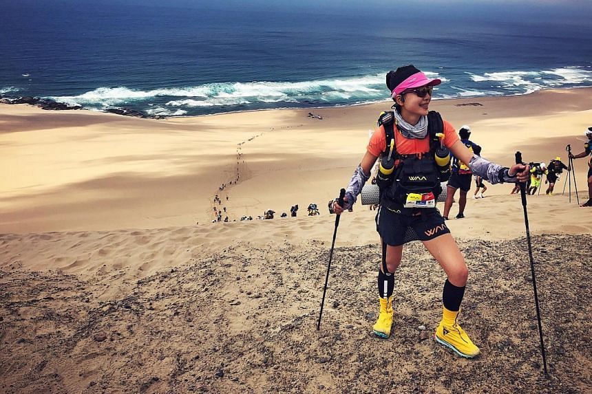 Singaporean Vicki Zhu at the Half Marathon des Sables in Peru in December 2019. She finished the race on painkillers.
