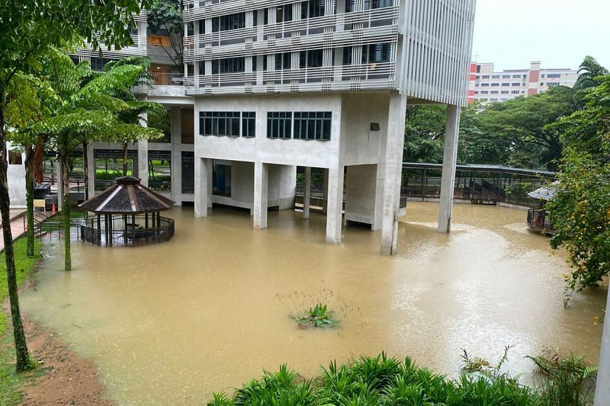 High water level at Nanyang Technological University's Pioneer Hall on Jan 2, 2021.