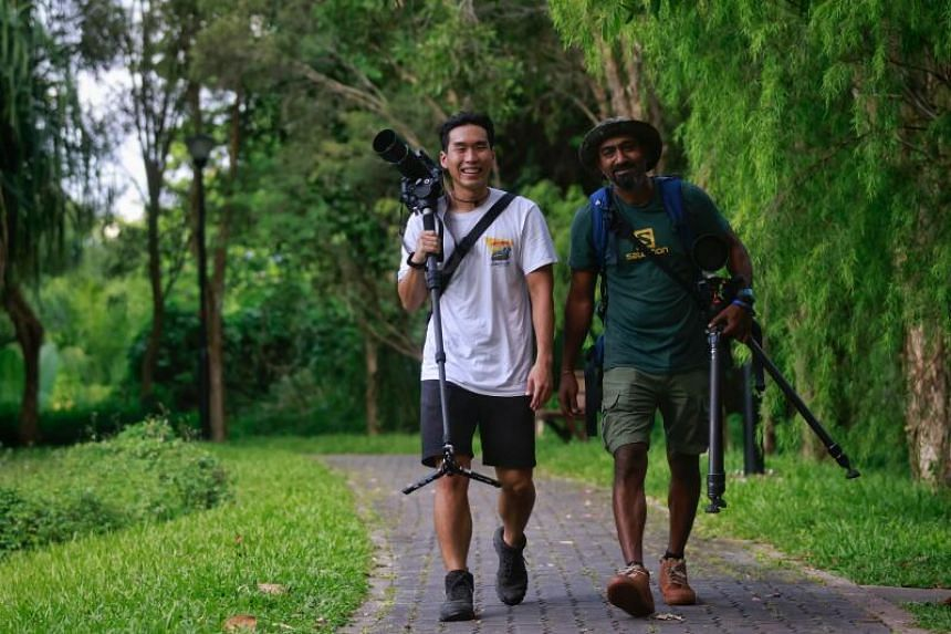 Pasir Ris residents Dan Ng (left) and Jayaprakash Bojan, who produced Residents Of The Park at Pasir Ris Park on Dec 31, 2020.