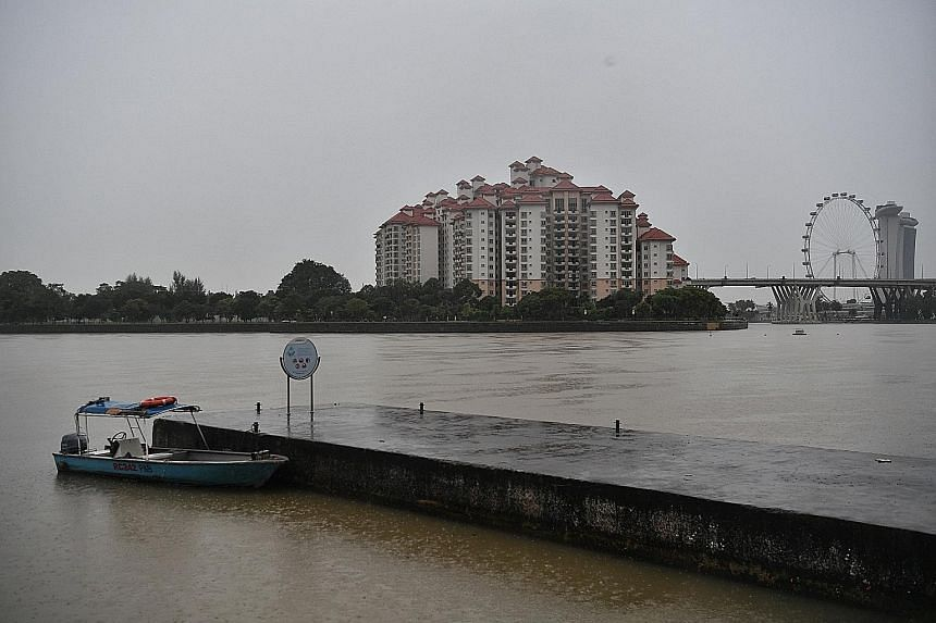 PASIR RIS The fishing pond at D'Best Fishing in Pasir Ris Town Park saw its water level rising yesterday owing to incessant rainfall. Between midnight and 7pm yesterday, 210.6mm of rain was recorded in Changi. Earlier yesterday, when the figure recor